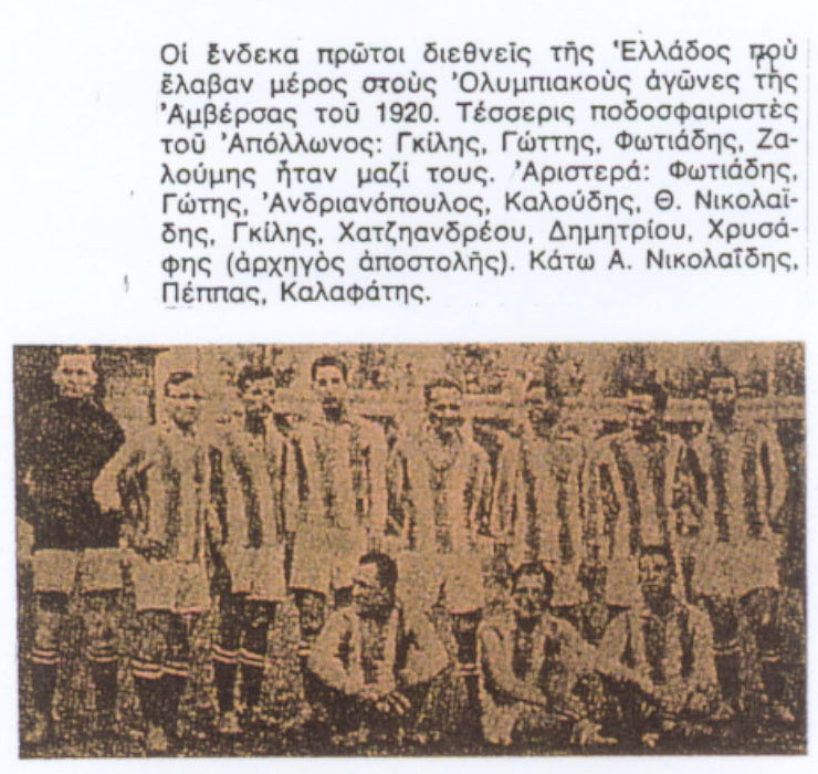 1920 Ολυμπιακοί αγώνες Αμβέρσα, Ελληνική ομάδα ποδοσφαιριστές ΑΠΟΛΛΩΝΑ